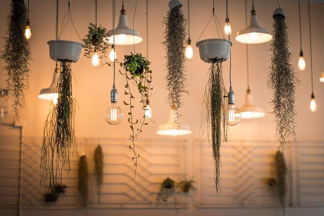 Žárovky v kombinaci s květináči